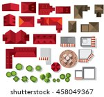 set of treetop symbols  house ... | Shutterstock .eps vector #458049367