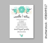 wedding card or invitation with ... | Shutterstock .eps vector #458049517