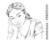 art drawing  portrait of sad...   Shutterstock . vector #458059243