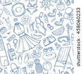 summer vacation doodles fashion ...   Shutterstock . vector #458060233