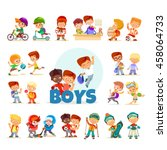 big icon set of cute cartoon... | Shutterstock .eps vector #458064733