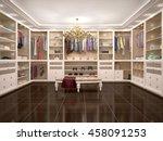 luxury wardrobe in modern style.... | Shutterstock . vector #458091253