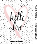 "hand lettered text ""hello love"" ... 