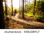 mountain biker riding on bike... | Shutterstock . vector #458108917