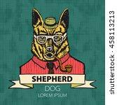 portrait of german shepherd.... | Shutterstock .eps vector #458113213