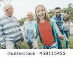 family day. happy little girl...   Shutterstock . vector #458115433