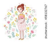 a young pregnant woman on a... | Shutterstock .eps vector #458132767
