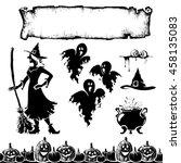 halloween elements   silhouette ... | Shutterstock .eps vector #458135083