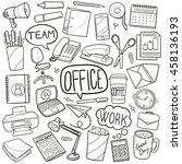 office work business doodle... | Shutterstock .eps vector #458136193