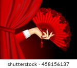 female hand with open red fan... | Shutterstock .eps vector #458156137