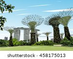 singapore. gardens by the bay.... | Shutterstock .eps vector #458175013