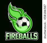 flying soccer ball with green... | Shutterstock .eps vector #458186587