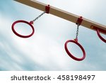 red gymnastic rings on a chains ...   Shutterstock . vector #458198497