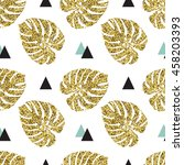 tropical golden  palm leaves... | Shutterstock .eps vector #458203393