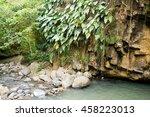 rocky ledge and light blue...   Shutterstock . vector #458223013