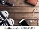 overhead view of sneaker shoes  ... | Shutterstock . vector #458240497
