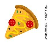 pizza flat slice isolated on... | Shutterstock .eps vector #458245453