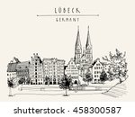 hanseatic city of  lubeck ... | Shutterstock .eps vector #458300587