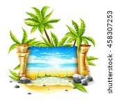 travel banner with old... | Shutterstock .eps vector #458307253