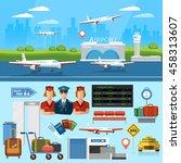 airport set aircraft runway... | Shutterstock .eps vector #458313607