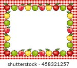 apple frame place mat  red and... | Shutterstock .eps vector #458321257