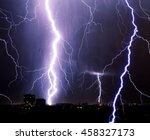 lightning storm over city ... | Shutterstock . vector #458327173