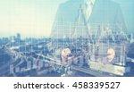 double exposure of success... | Shutterstock . vector #458339527