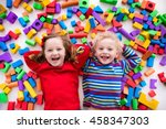 happy preschool age children... | Shutterstock . vector #458347303