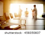 table meeting and documents...   Shutterstock . vector #458350837