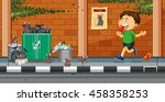 boy throwing trash on the... | Shutterstock .eps vector #458358253