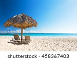 beach chairs with umbrella and... | Shutterstock . vector #458367403