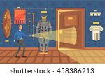 museum security guard patrols... | Shutterstock .eps vector #458386213