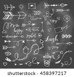 vector hand drawn set on grey... | Shutterstock .eps vector #458397217