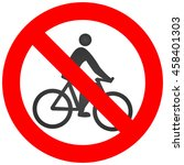 Stop Or Ban Sign With Cyclist...