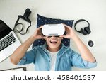 top view of man wearing virtual ... | Shutterstock . vector #458401537