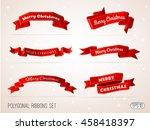 polygonal merry christmas red... | Shutterstock .eps vector #458418397