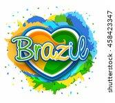 brazilian flag colors text... | Shutterstock .eps vector #458423347
