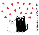 Stock vector cute cartoon black white cat boy and girl kitty couple on date big mustache whisker funny 458425177