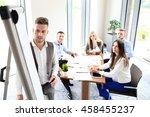 businessman giving a... | Shutterstock . vector #458455237