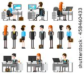 office people flat cartoon... | Shutterstock .eps vector #458460433