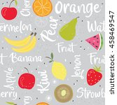 seamless fruit pattern with... | Shutterstock .eps vector #458469547