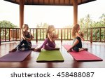 healthy young women practicing... | Shutterstock . vector #458488087