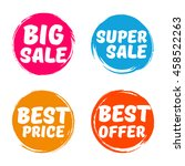 set of  vintage round labels.... | Shutterstock .eps vector #458522263