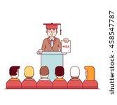 mba student graduation rostrum... | Shutterstock .eps vector #458547787