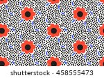 Ornamental, traditional, simple seamless pattern with flowers. Cute print with dot in scandinavian style.