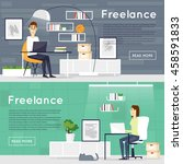 freelance  working at home ... | Shutterstock .eps vector #458591833