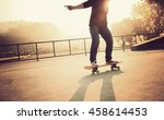 young woman skateboarder... | Shutterstock . vector #458614453