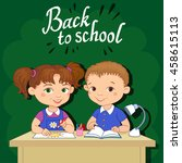 funny pupils sit on desks read... | Shutterstock .eps vector #458615113