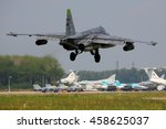 Small photo of DYAGILEVO, RYAZAN, RUSSIA - JULY 15, 2016: Sukhoi Su-25 RF-93022 (NATO code name: Frogfoot) close air support airplane landing at Dyagilevo airfield.