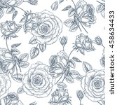 seamless rose pattern with... | Shutterstock .eps vector #458634433